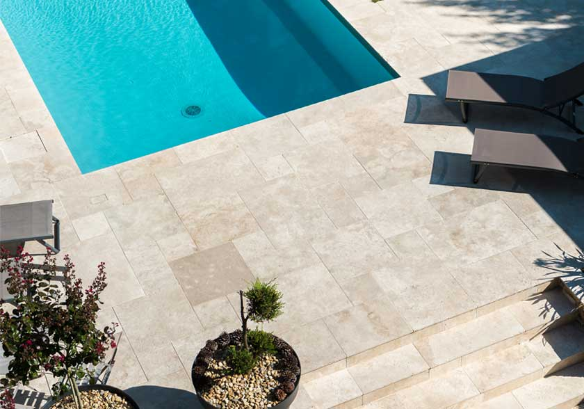 Travertin Light Mixte CUPA STONE pour la plage de piscine